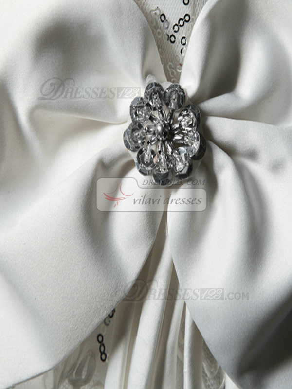 A-line V-neck Straps Chapel Train Lace Sequin Flower Wedding Dresses With Bowknot