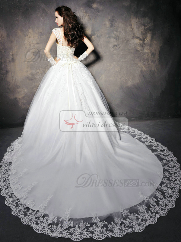 Ball Gown Straps Cathedral Train Lace Appliques Wedding Dresses