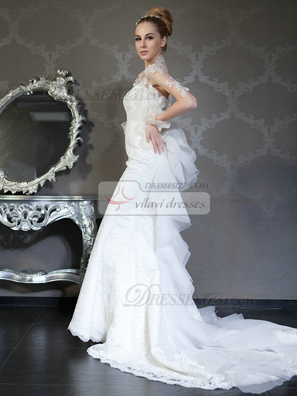 Mermaid Tube Top Chapel Train Lace Sequin Ruffle Wedding Dresses With Jacket