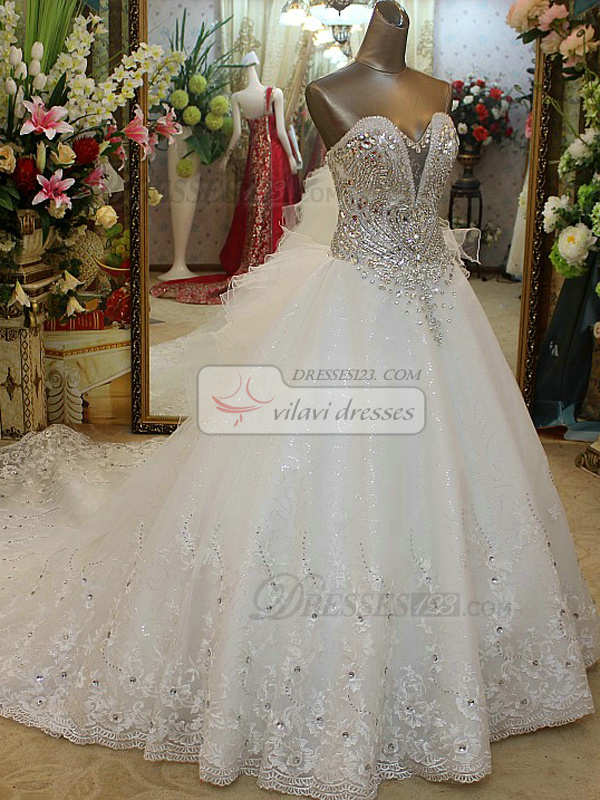A-line Strapless Big Water Drop Shape Crystal Bodice Court Train Lace Wedding Dresses