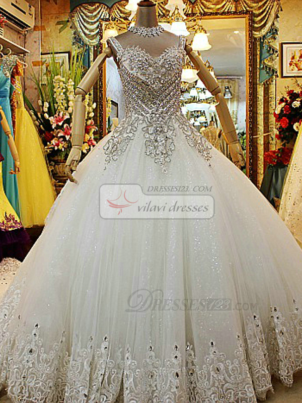 Ball Gown Straps Crystals And Rhinestones Bodice Cathedral Train ...