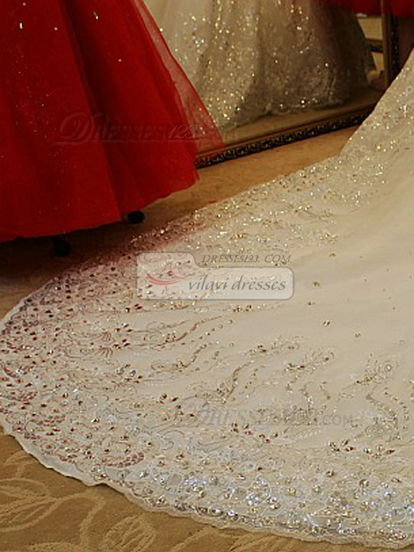 Ball Gown Sweetheart Cathedral Train Lace Sequin Crystals And Rhinestones Bodice Wedding Dresses