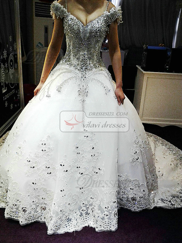 Ball Gown Off-the-shoulder Court Train Lace Big Crystals And Rhinestones Wedding Dresses