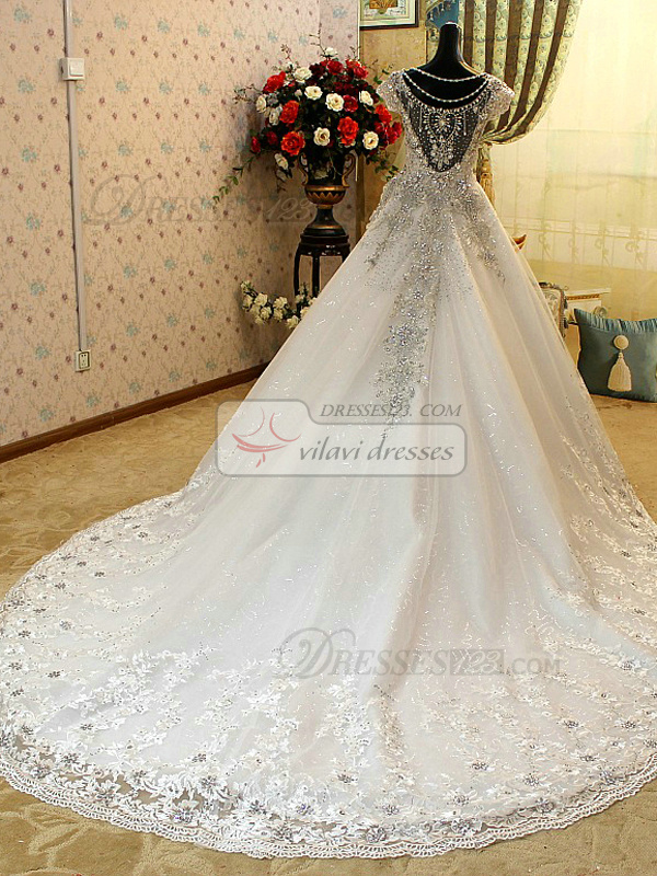 Ball Gown Sweetheart Court Train Lace Semi Transparent Jewelry Back Rhinestones Wedding Dresses