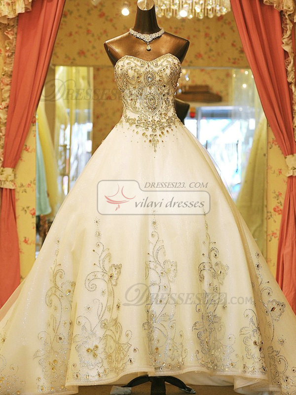 Ball Gown Sweetheart Cathedral Train Lace Crystals And Rhinestones Bodice Wedding Dresses