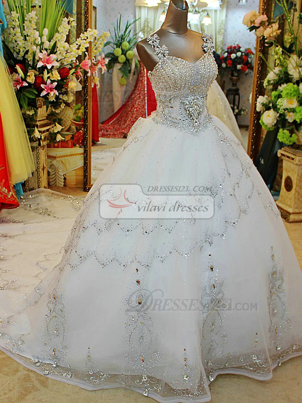 Princess Sweetheart Jewelry Straps Chapel Train Lace Waving Decorative Crystal Wedding Dresses
