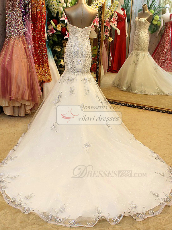 Mermaid Sweetheart Court Train Lace Crystals And Beading Wedding Dresses