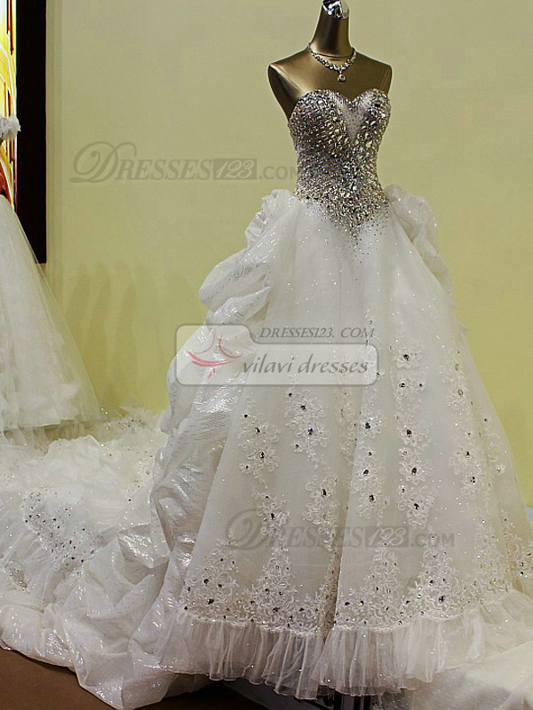 Princess Sweetheart Chapel Train Lace Pick Ups Wedding Dresses With Big Crystals And Rhinestones Bodice