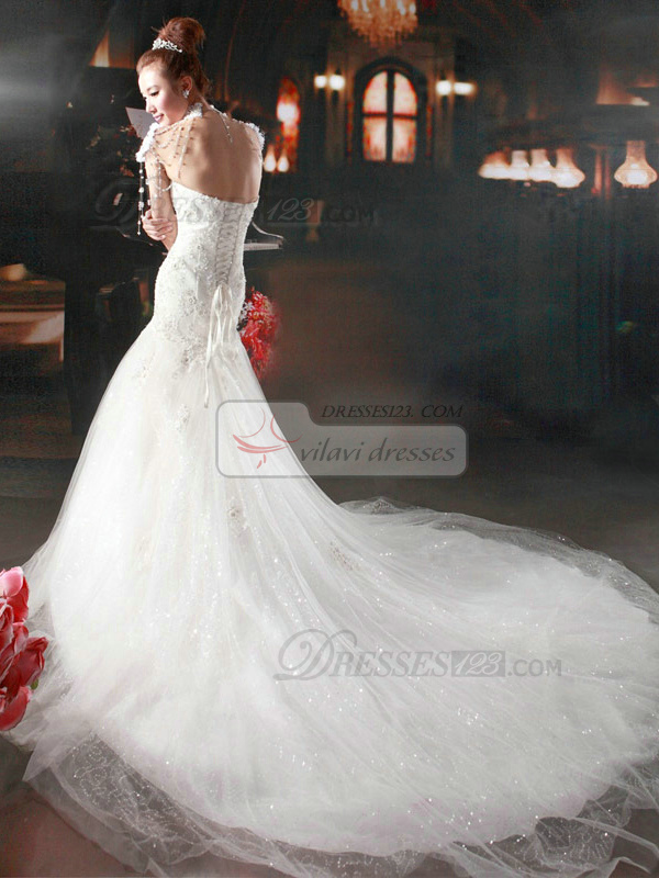 Mermaid Sweetheart Chapel Train Lace Beading Wedding Dresses