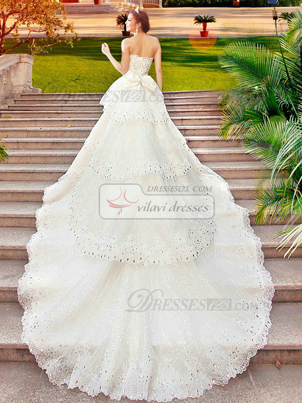 Princess Sweetheart Tiered Court Train Lace Bowknot Crystals And Rhinestones Bodice Wedding Dresses