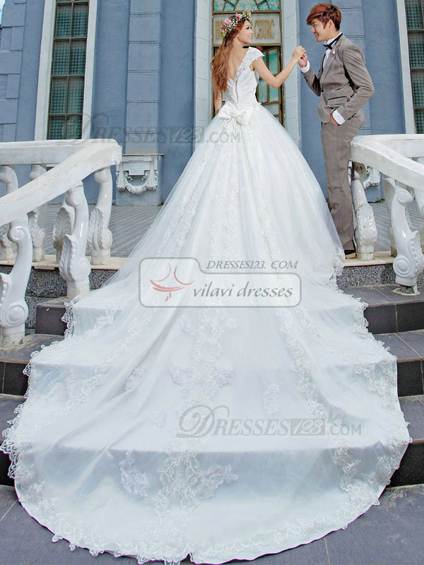 Princess Scoop Cap Sleeves Cathedral Train Lace Beading Wedding ...