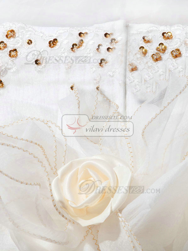 Ball Gown Sweetheart Chapel Train Lace Sequin Wedding Dresses With Flowers