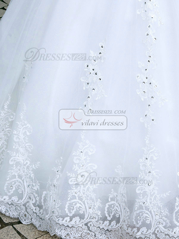 Princess Sweetheart Cathedral Train Lace Crystals Wedding Dresses