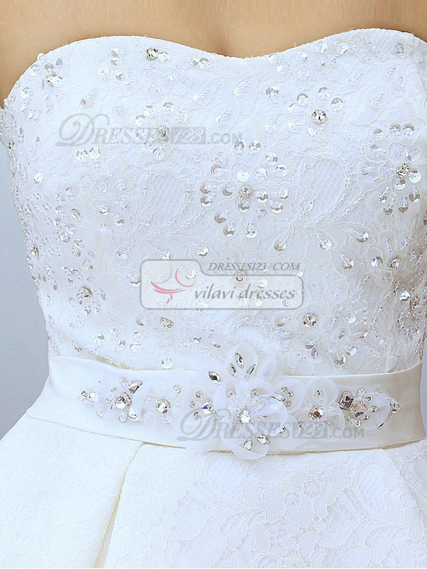 Mermaid Sweetheart Court Train Lace Sashes Peplum Wedding Dresses