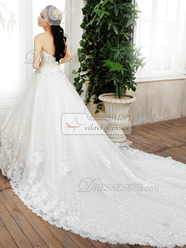 Princess Tube Top Chapel Train Lace Wedding Dresses With Crystals