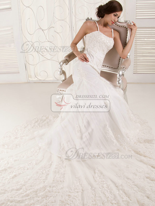 Mermaid Spaghetti Straps Chapel Train Beading Lace Wedding Dresses