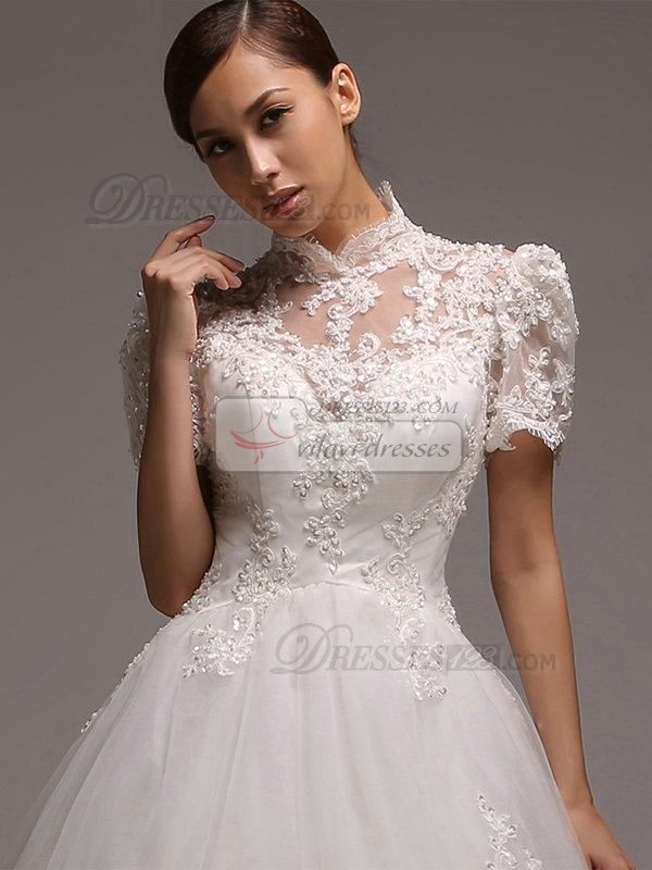 A-line High Neck Court Train Short Sleeve Beading Lace Wedding Dresses