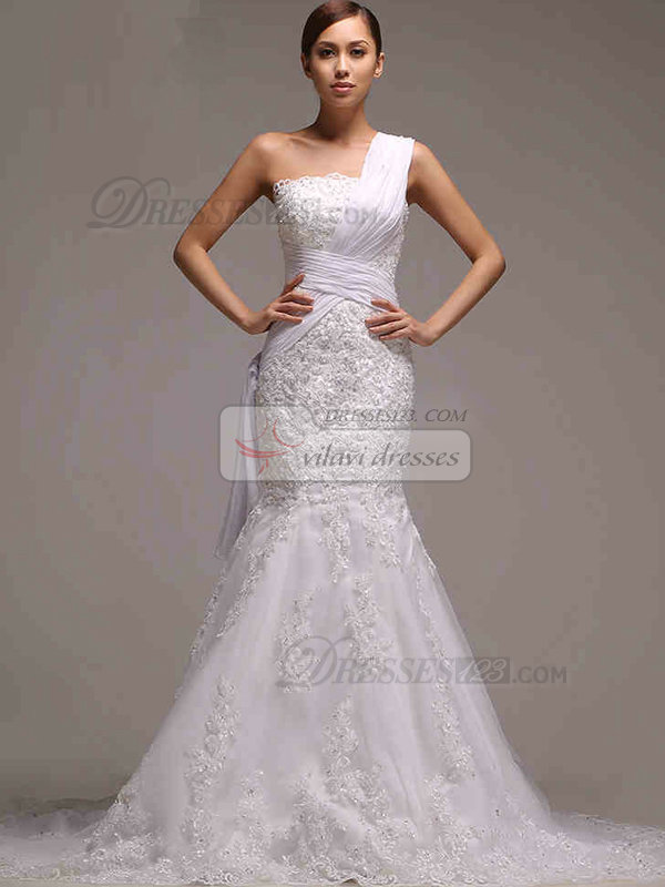Mermaid One Shoulder Chapel Train Beading Lace Wedding Dresses