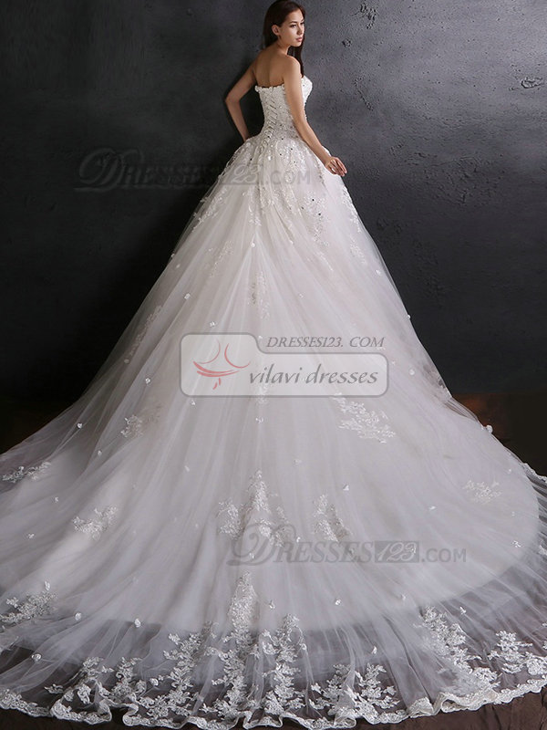 A-line Sweetheart Cathedral Train Beading Flower Lace Wedding Dresses