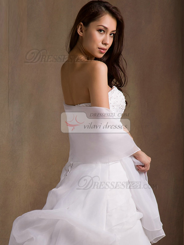 A-line Tube Top Court Train Tiered Lace Wedding Dresses