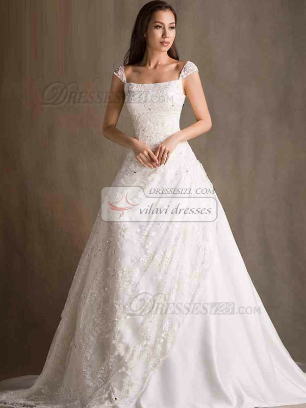 A-line Straps Court Train Crystal Cap Sleeves Lace Wedding Dresses ...