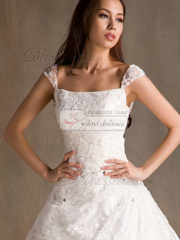 A-line Straps Court Train Crystal Cap Sleeves Lace Wedding Dresses