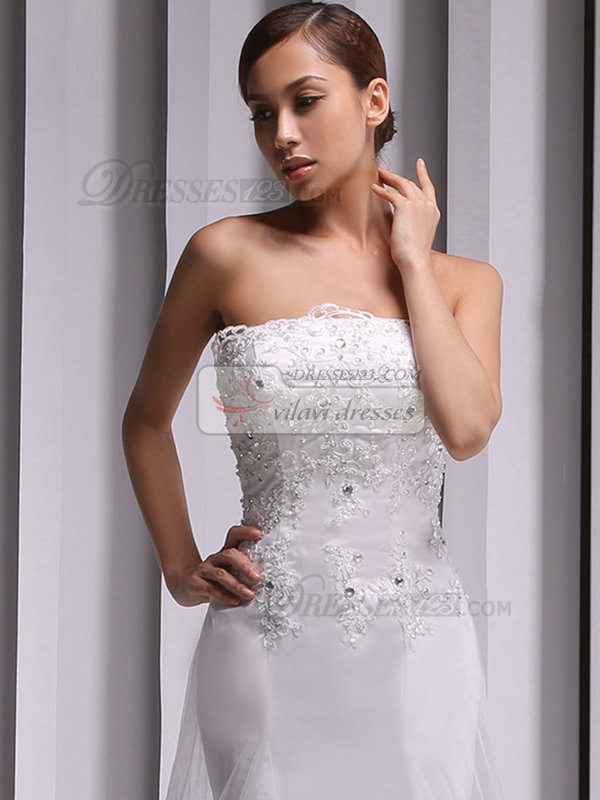 Mermaid Tube Top Chapel Train Crystal Lace Wedding Dresses