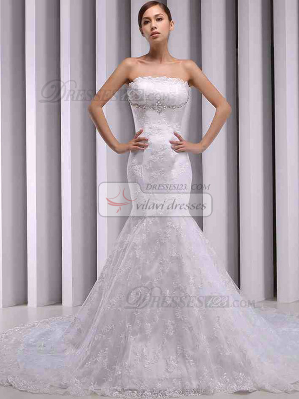 Mermaid Scalloped-edge Strapless Court Train Lace Wedding Dresses With Crystal