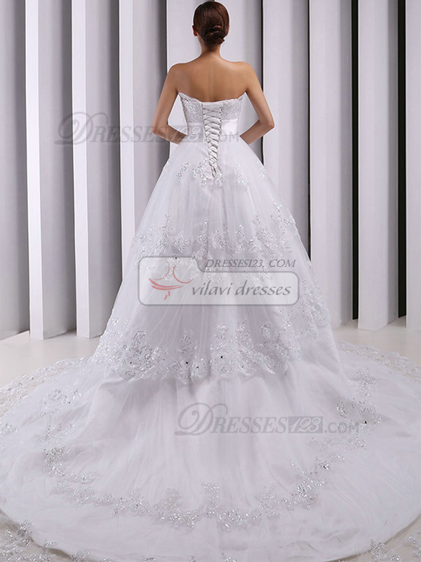 A-line Scalloped-edge Court Train Beading Crystal Lace Wedding Dresses