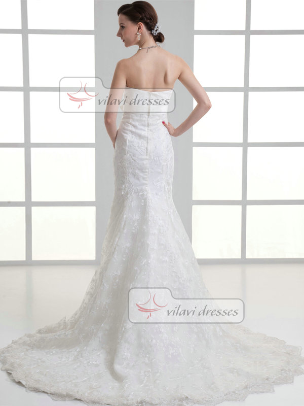 Mermaid Sweetheart Brush Train Bowknot Lace Wedding Dresses