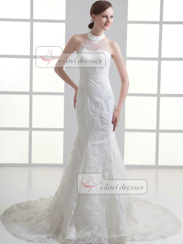 Mermaid Round Brought Sweep Beading Lace Wedding Dresses With Semi Transparent