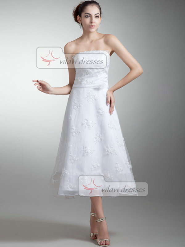 A-line Strapless Tea-length Beading Sequin Lace Wedding Dresses