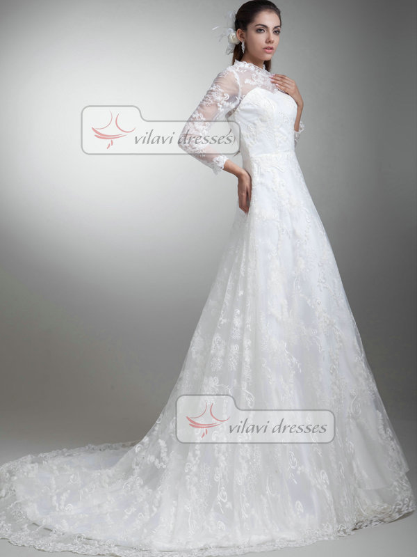 A-line Scalloped-edge Brush Train 3/4 Length Sleeve Lace Wedding Dresses With Sequin