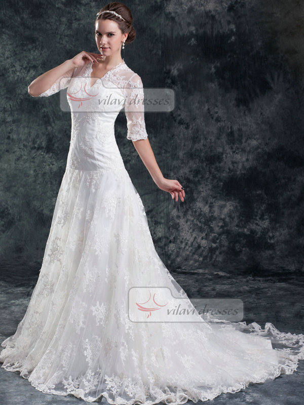 A-line Scalloped-edge Brush Train Half Sleeve Lace Wedding Dresses With Beading