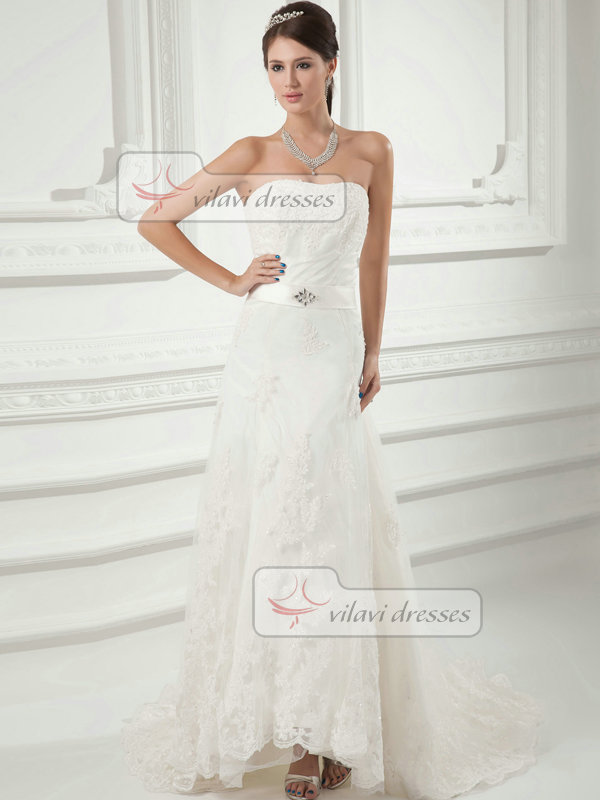 A-line Sweetheart Sweep Sequin Beading Crystal Lace Wedding Dresses