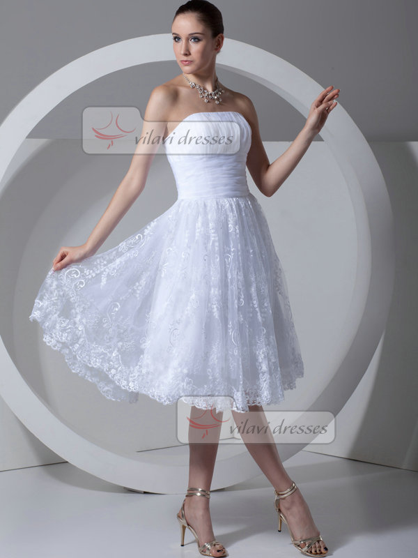 A-line Tube Top Strapless Knee-length Tiered Lace Wedding Dresses