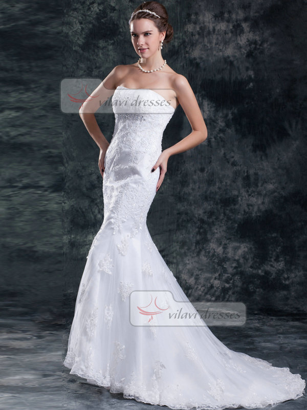 Mermaid Tube Top Brush Train Crystal Beading Lace Wedding Dresses