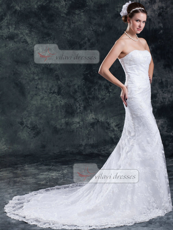 Mermaid Tube Top Court Train Beading Lace Wedding Dresses