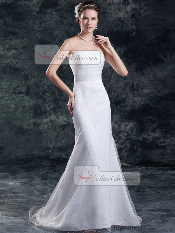 Mermaid Tube Top Strapless Brush Train Lace Wedding Dresses