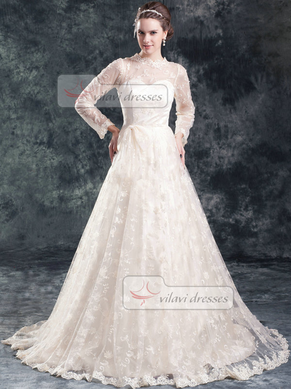 A-line Scalloped-edge Sweep 3/4 Length Sleeve Lace Wedding Dresses With Bowknot