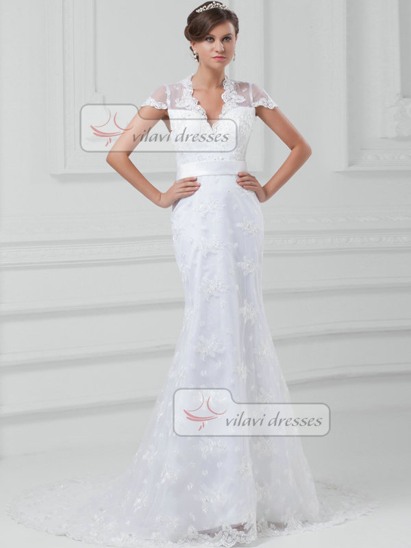 Mermaid Scalloped-edge Court Train Short Sleeve Open Back Lace Wedding Dresses With Sequin