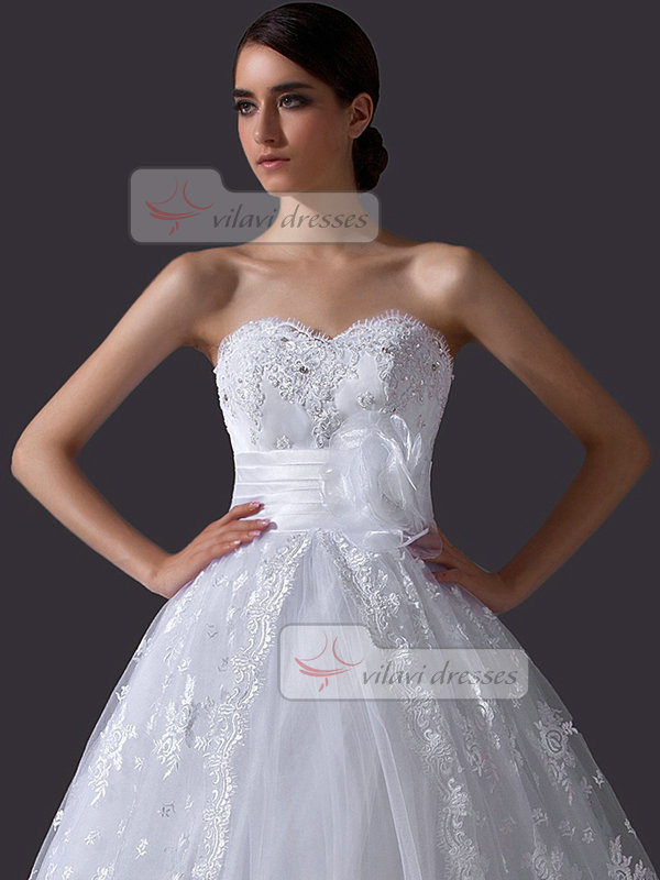 Ball Gown Strapless Chapel Train Crystal Lace Wedding Dresses