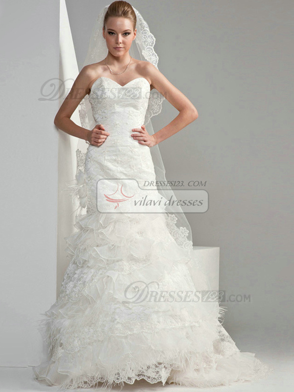 Mermaid Organza Sweetheart Strapless Lace-up Appliques Lace Flower Wedding Dresses