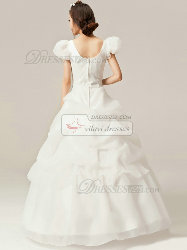 Lovely Princess Organza Straps Floor-length Pick-Ups Beading Wedding Dresses