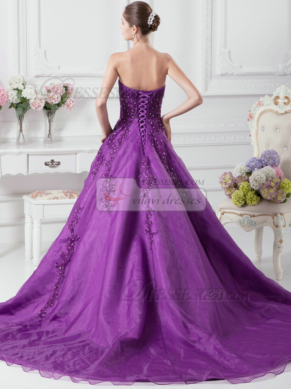 Awesome A-Line Organza Sweetheart Court Train Wedding Dresses