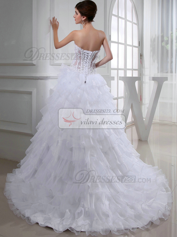 Sexy Ball Gown Organza Sweetheart Beading Wedding Dresses
