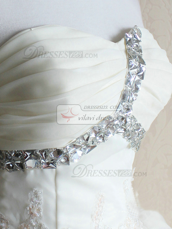 Princess Sweetheart Court Train Organza Lace Pick Ups Wedding Dresses With Flowers
