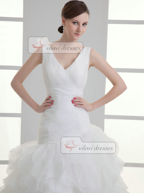 Over Hip V-neck Straps Sweep Organza Flower Ruffle Wedding Dresses