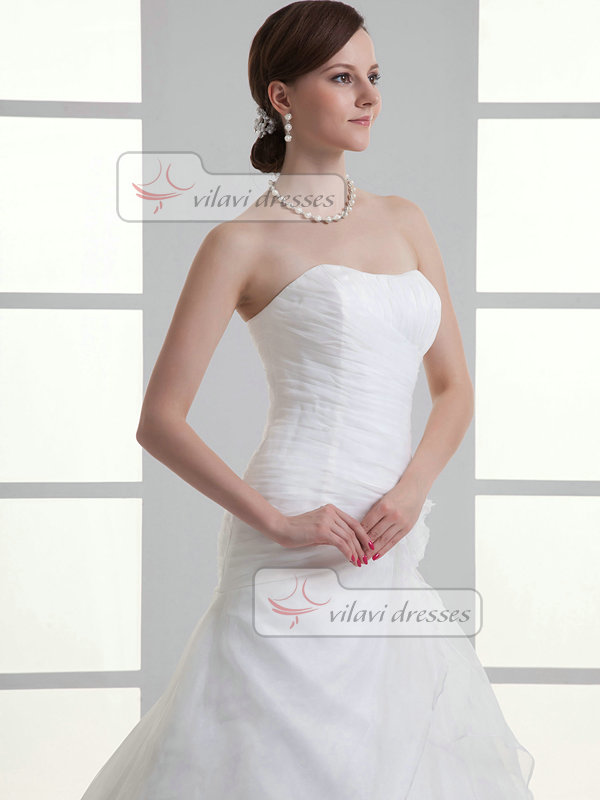 Over Hip Sweetheart Brush Train Organza Flower Crystal Wedding Dresses