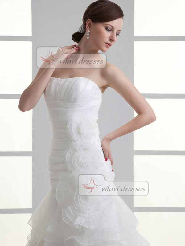 Over Hip Sweetheart Brush Train Organza Flower Tiered Wedding Dresses